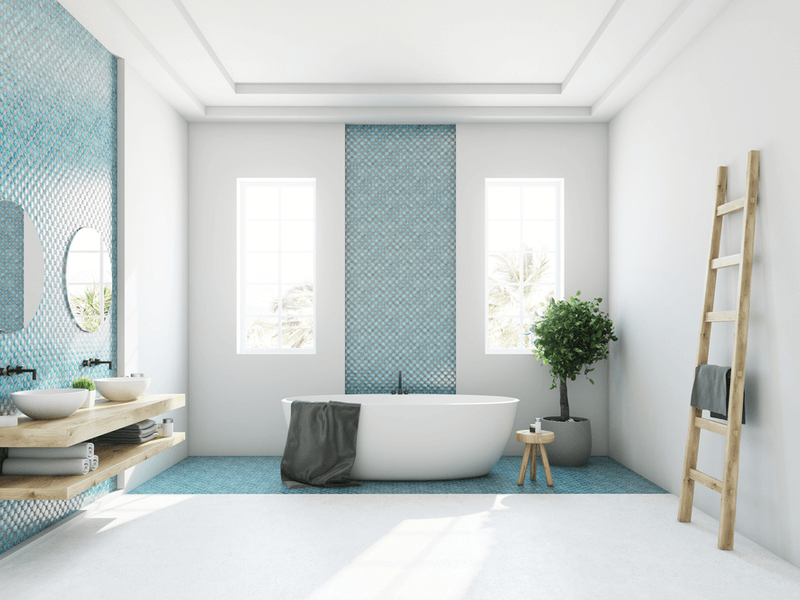 Bright bathroom with blue tile