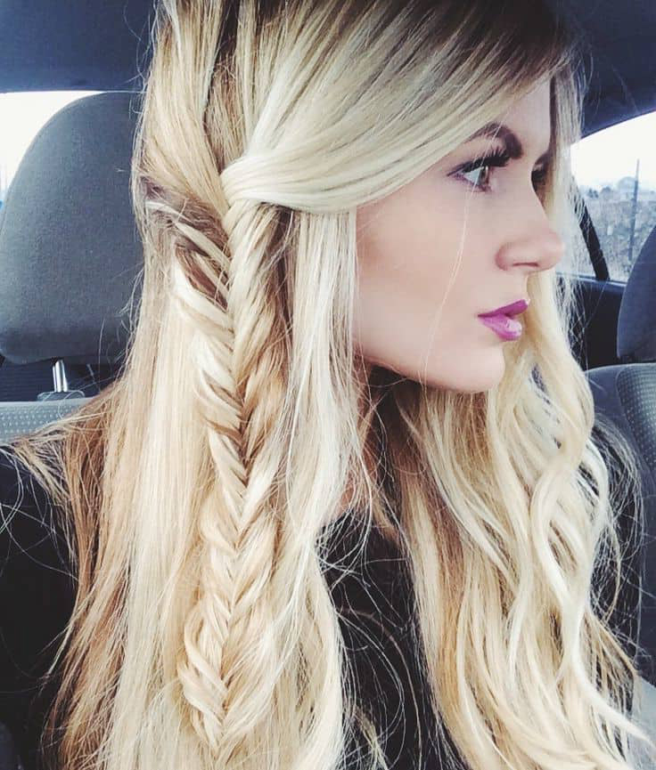 Highlight Side Fishtail Braid hairstyle for girl