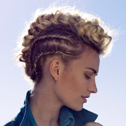 Updo Mohawk with Two Side Braids